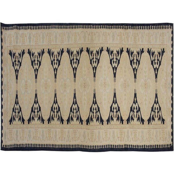 Badham Hand-Knotted Wool Tan/Blue Area Rug by Bloomsbury Market