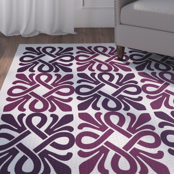 Temple Terrace Purple/White Indoor/Outdoor Area Rug by Beachcrest Home