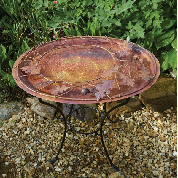 Oval Branch Flamed Standing Birdbath by Ancient Graffiti