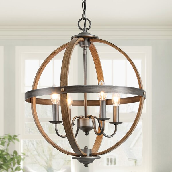 Lauryn 4 - Light Candle Style Globe Chandelier By One Allium Way