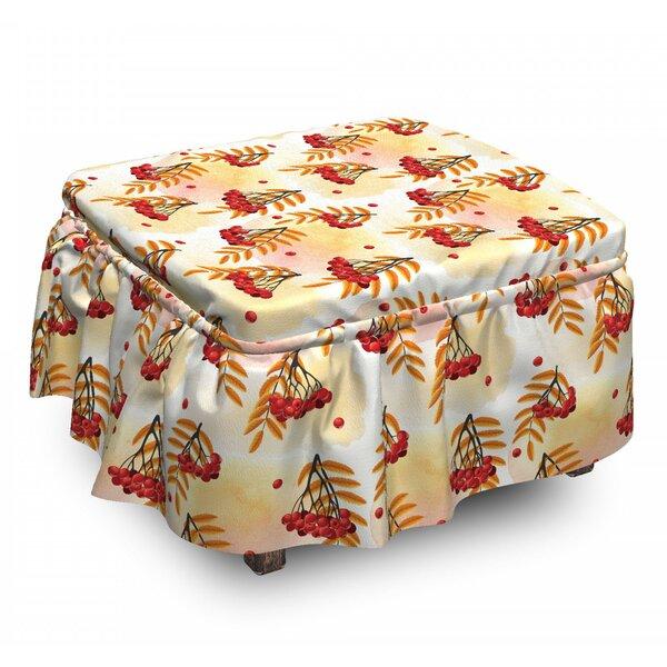 Rowan Romantic Fall Season Tile 2 Piece Box Cushion Ottoman Slipcover Set By East Urban Home