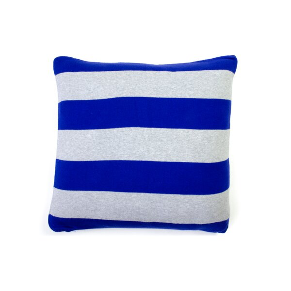 Rugby Stripe Cotton Throw Pillow by Darzzi