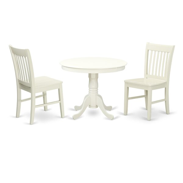 Malaki 3 Piece Breakfast Nook Solid Wood Dining Set by August Grove