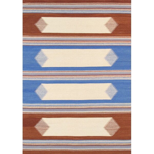 Kilim Hand-Woven Brown/Blue Area Rug by Pasargad