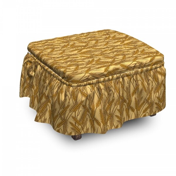 Harvest Cereal Ears Rural Field 2 Piece Box Cushion Ottoman Slipcover Set By East Urban Home