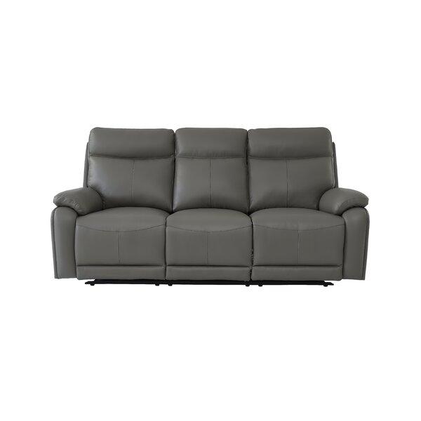 Iwar Genuine Leather Reclining 82'' Pillow Top Arm Sofa By Red Barrel Studio