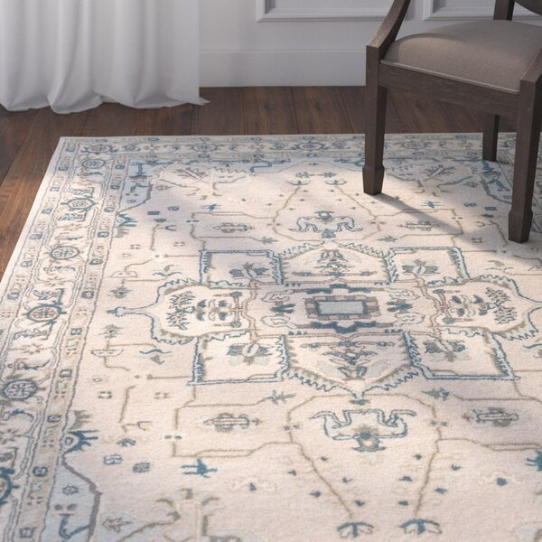 Victoire Hand-Tufted Taupe/Blue Area Rug by Astoria Grand