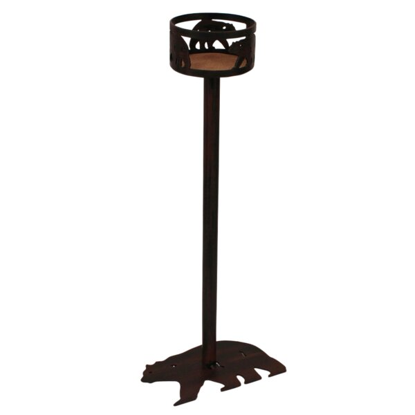 Annabel Iron Bear Band Walking Bear Base Pub Table by Millwood Pines