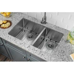 Radius 16 Gauge Stainless Steel 32 X 19 60 40 Double Bowl Undermount Kitchen Sink