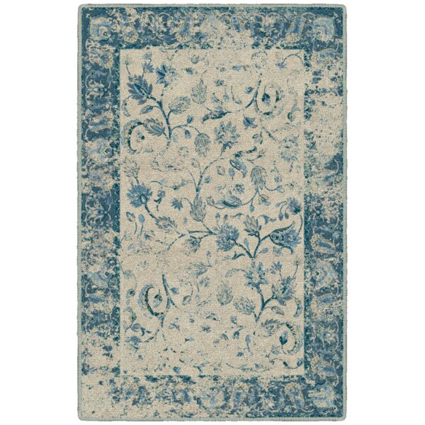 India Vintage Persian Blue Area Rug by Charlton Home