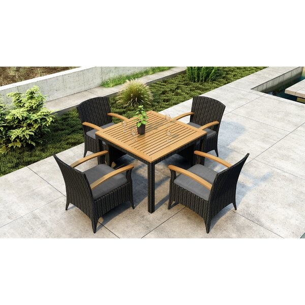 Aisha 5 Piece Teak Dining Set with Sunbrella Cushion by Brayden Studio