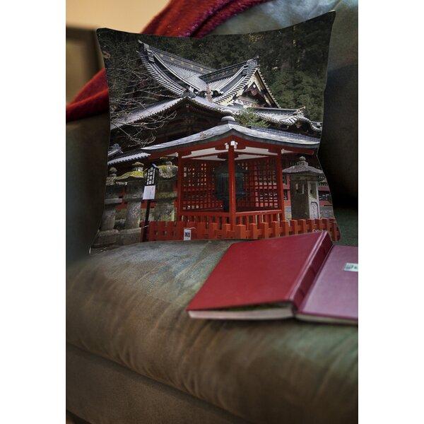 Nikko Monastery Building Printed Throw Pillow by Manual Woodworkers & Weavers