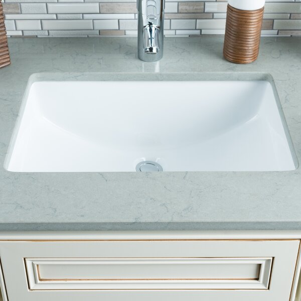 Ceramic Rectangular Undermount Bathroom Sink with Overflow by Hahn
