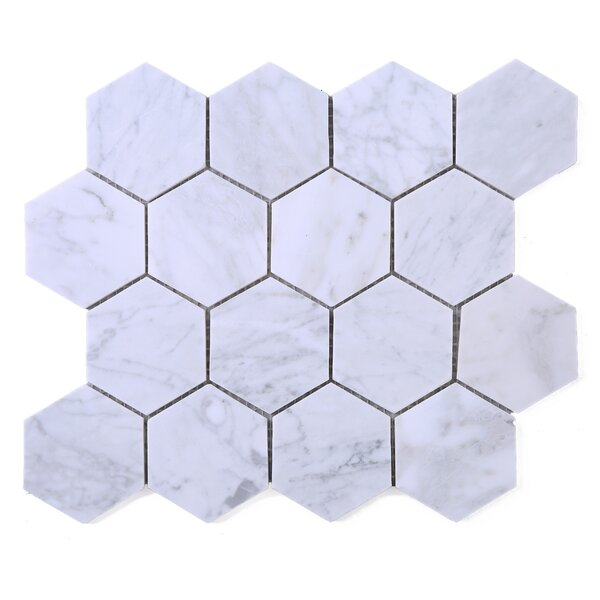 Hexagon Marble Mosaic Tile in White by Multile