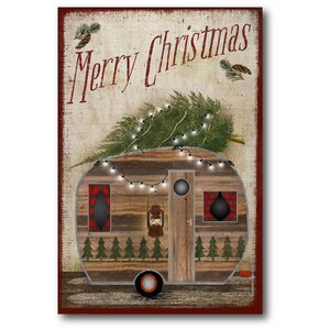 'Camper Rustic Christmas' Graphic Art Print on Canvas by Loon Peak