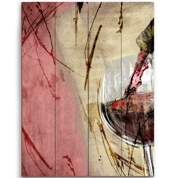 Artistic Pouring Red Wine Right Painting Print Plaque by Click Wall Art