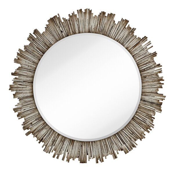 Large Round Beveled Accent Mirror with White Washed Wood Frame by Majestic Mirror