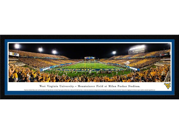 NCAA West Virginia University - Stripe End Zone by James Blakeway Framed Photographic Print by Blakeway Worldwide Panoramas, Inc