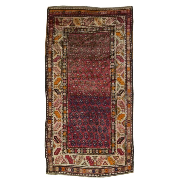 One-of-a-Kind Hand-Knotted Red/Brown 4'1 x 7'4 Area Rug