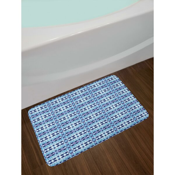 African Asian Pattern in Blue Shades Psychedelic Batik Design Bath Rug by East Urban Home