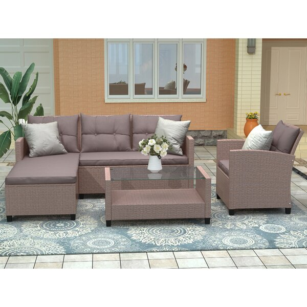 Alhassan 4 Piece Rattan Sectional Seating Group with Cushions by Latitude Run