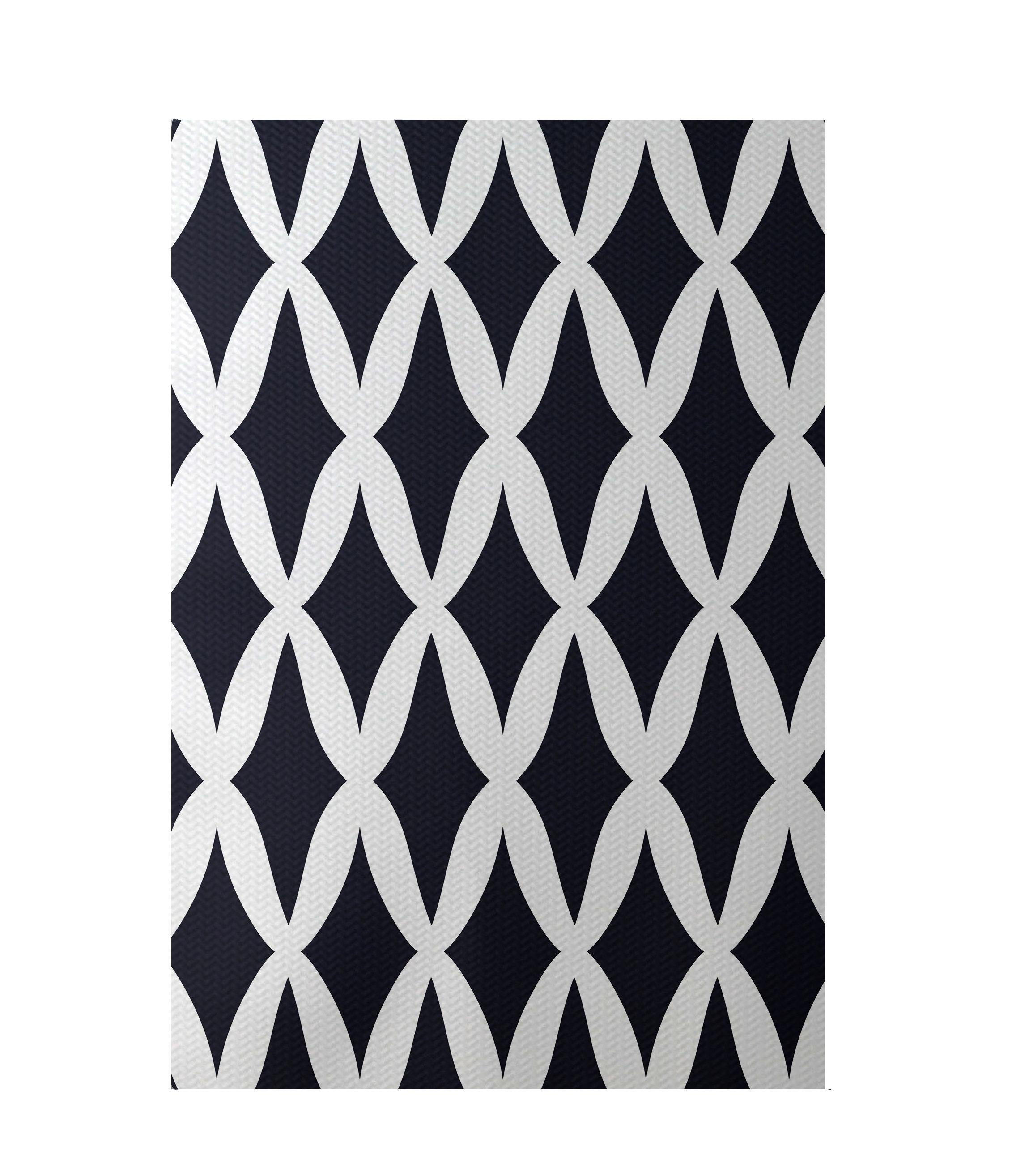 E by design geometric blue indoor outdoor area rug wayfair for Indoor navigation design