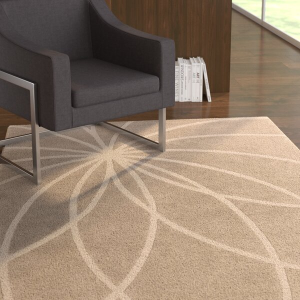 Carnahan Hand-Tufted Wool Khaki/Cream Area Rug by Ebern Designs