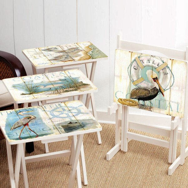 Shore Birds TV Tray with Stand (Set of 4) by Cape Craftsmen