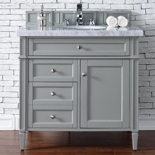 Deleon 36 Single Urban Gray Granite Top Bathroom Vanity Set by Darby Home Co