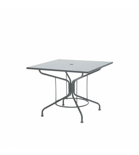Solid Top Umbrella Metal Dining Table by Woodard