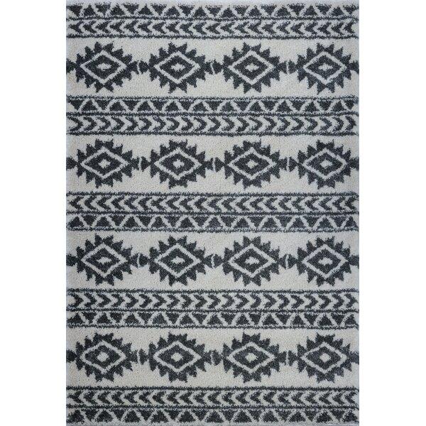Hiebert Ivory/Black Area Rug by Bloomsbury Market