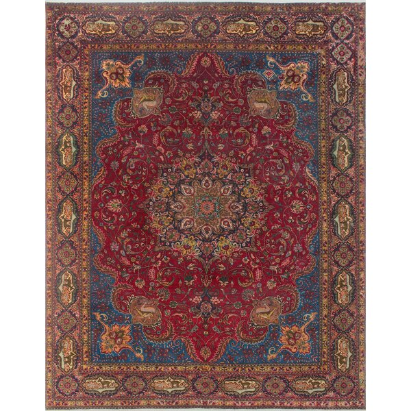 Brodersen Vintage Distressed Hand Knotted Wool Red Area Rug by Bloomsbury Market