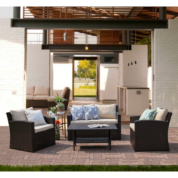 Kingsbury 4 Piece Rattan Sofa Seating Group with Cushions by Longshore Tides