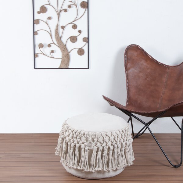 Mercedes Macrame Round Pouf by Bungalow Rose