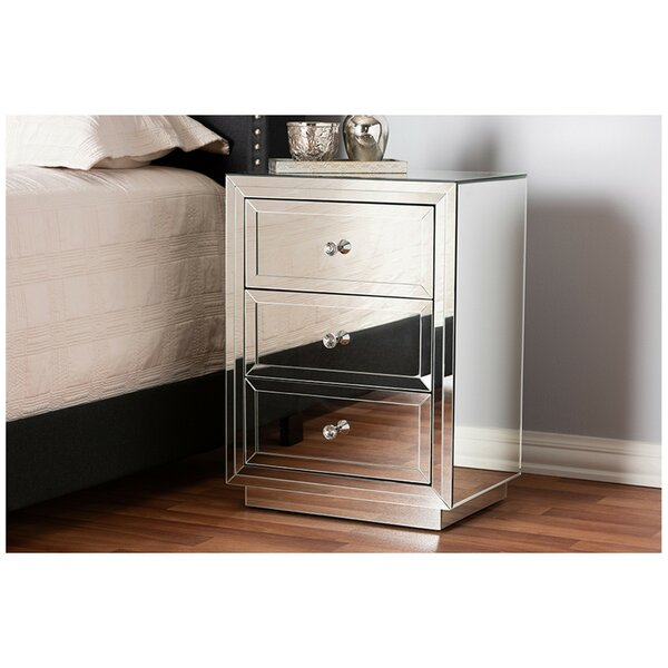 Candleick Mirrored 3 Drawer Nightstand by Rosdorf Park