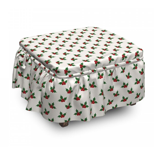 Christmas Holly Berries 2 Piece Box Cushion Ottoman Slipcover Set By East Urban Home