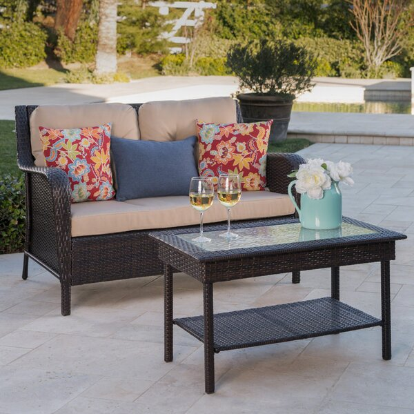 Hinkson 2 Piece Rattan Conversation Set With Cushions by Charlton Home