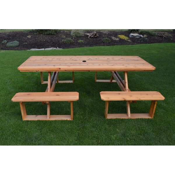 Bercht Wooden Picnic Table by August Grove