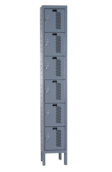 Heavy Duty 6 Tier 1 Wide Storage lockers by Hallowell