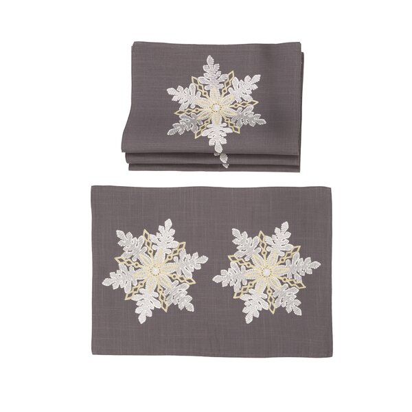 Fritz Sparkling Snowflakes Embroidered Christmas 14 Placemat (Set of 4) by The Holiday Aisle