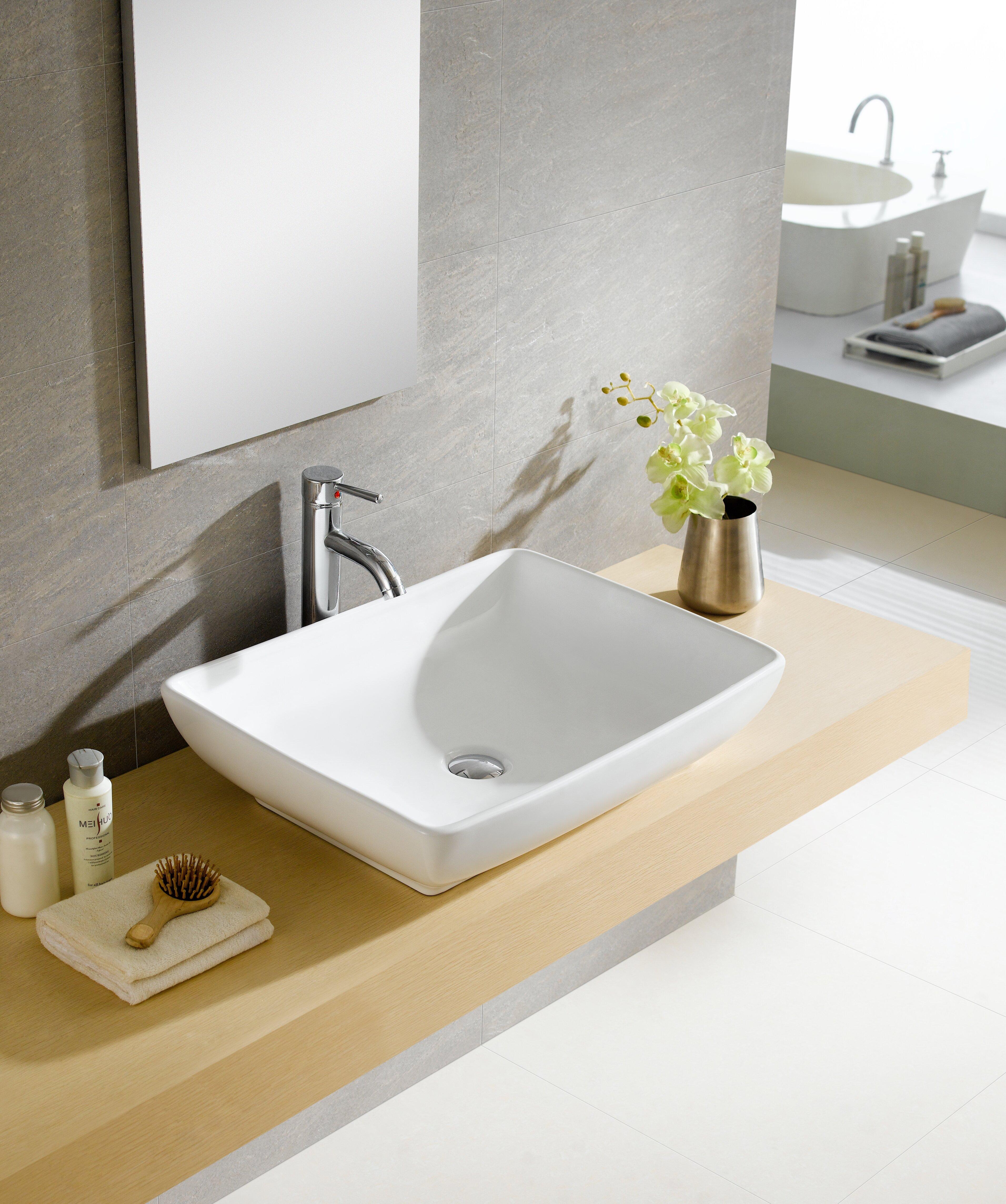 Fine Fixtures Modern White Ceramic Rectangular Vessel Bathroom Sink Reviews Wayfair