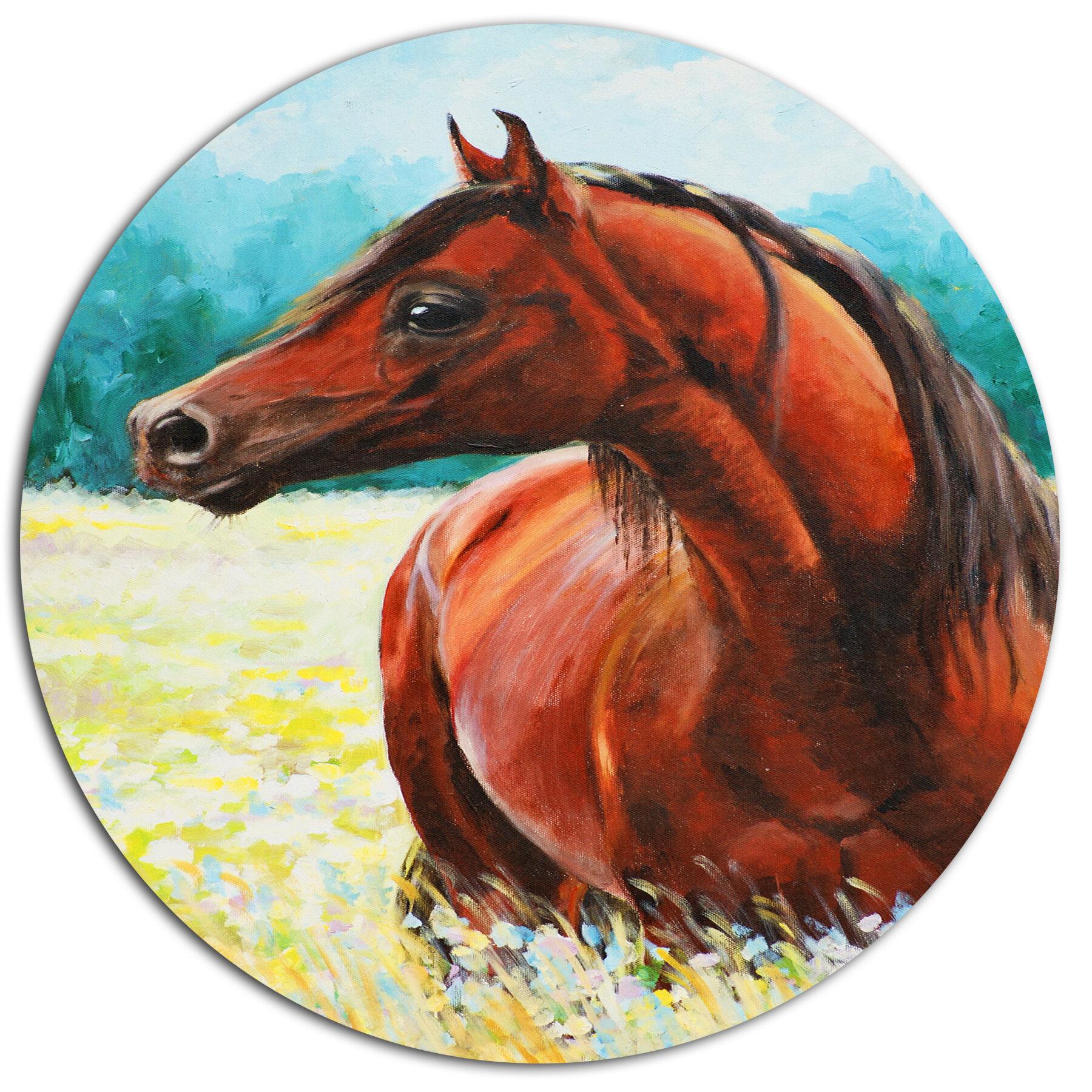 Designart Brown Arabian Horse Painting Oil Painting Print On Metal