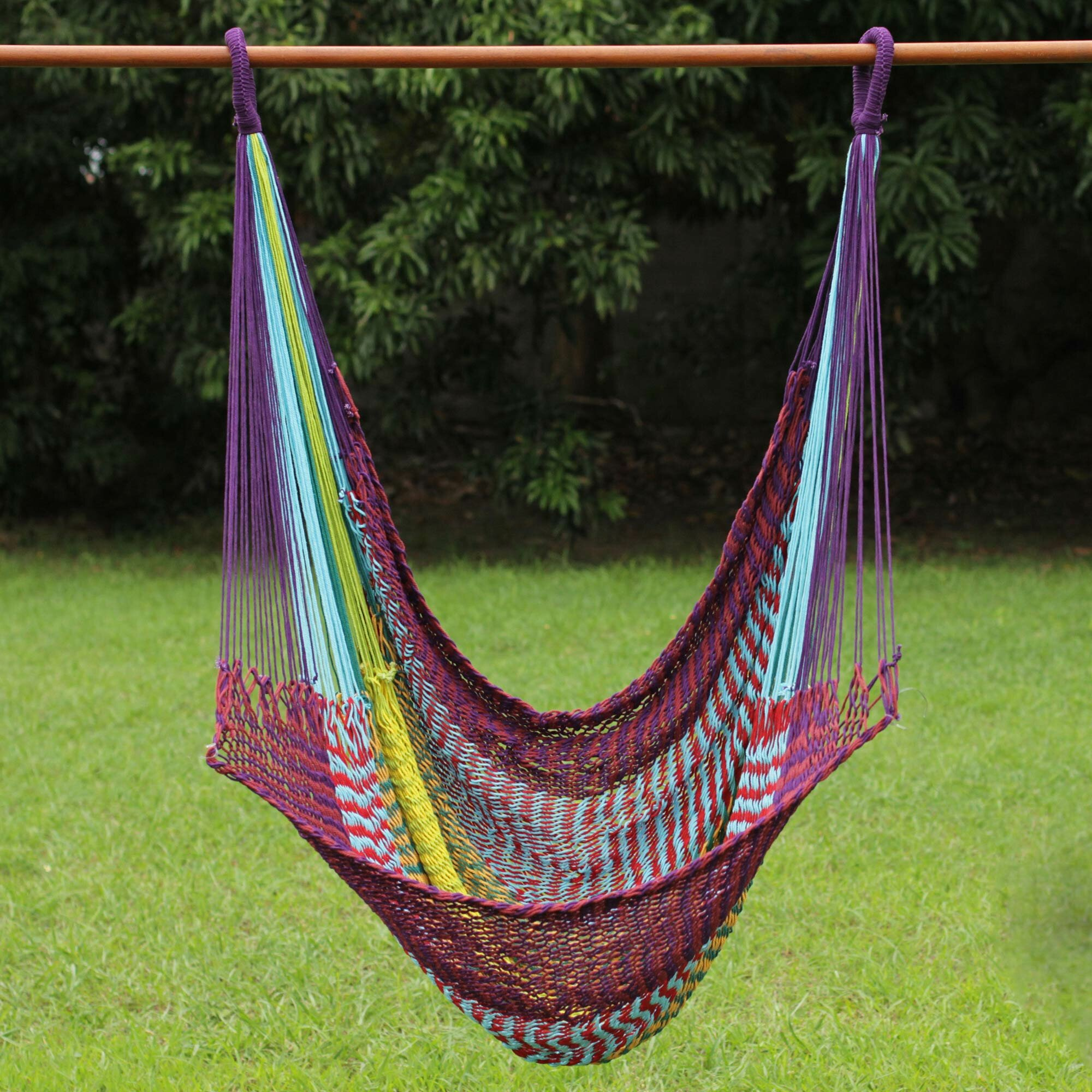 Novica Fair Trade Comfortable Multicolored Hand Woven Thai Cotton Indoor  And Outdoor Swinging Hammock Chair Hammock | Wayfair