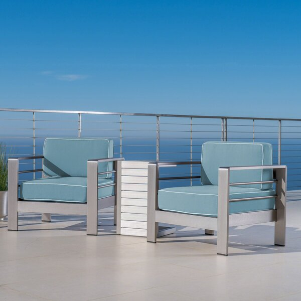 Royalston 3 Piece Aluminum Seating Group with Cushions by Brayden Studio