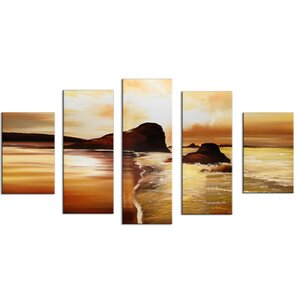 Orange Beach' 5 Piece Painting on Wrapped Canvas Set by Design Art