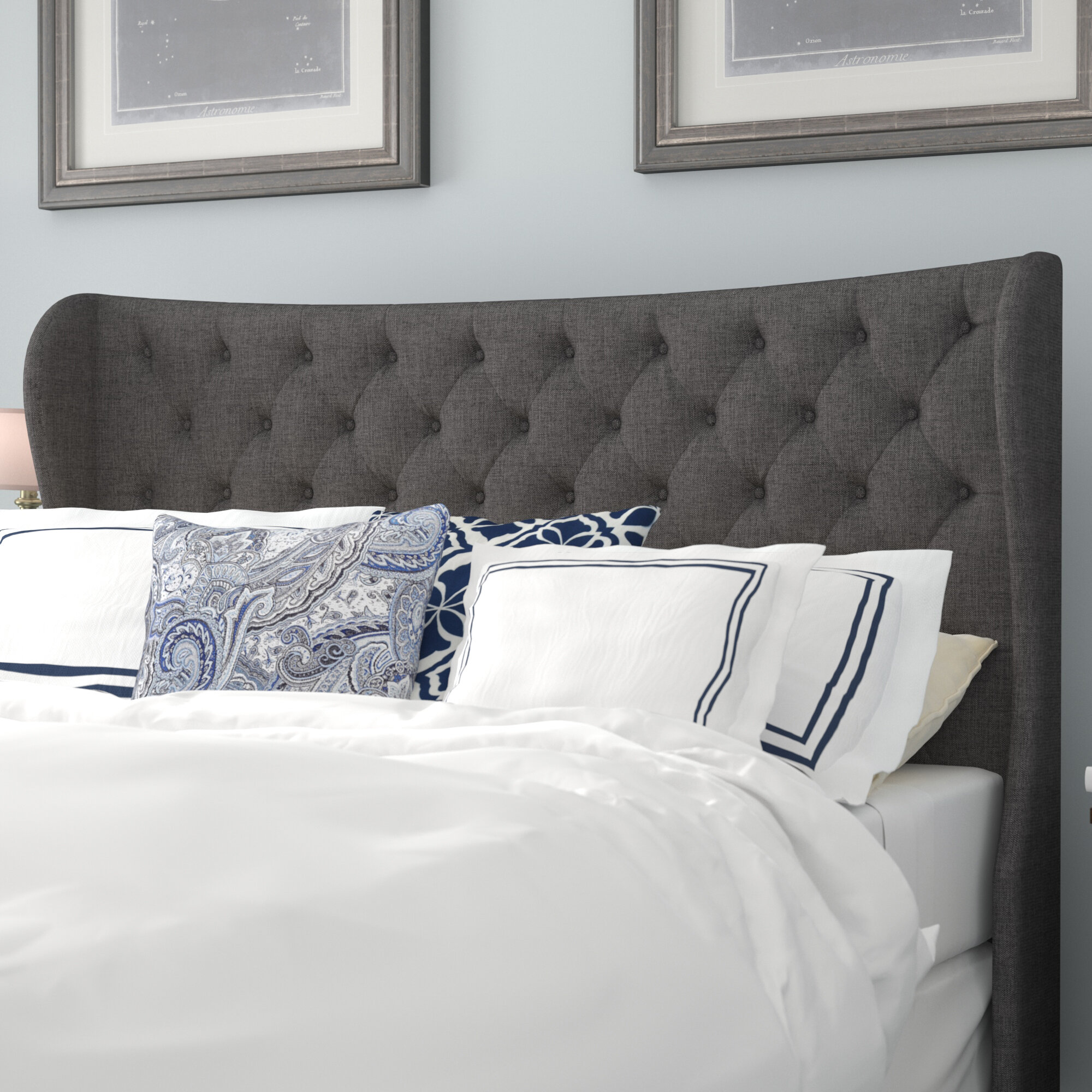 competitive price cae78 ed8d5 Estefana Upholstered Wingback Headboard
