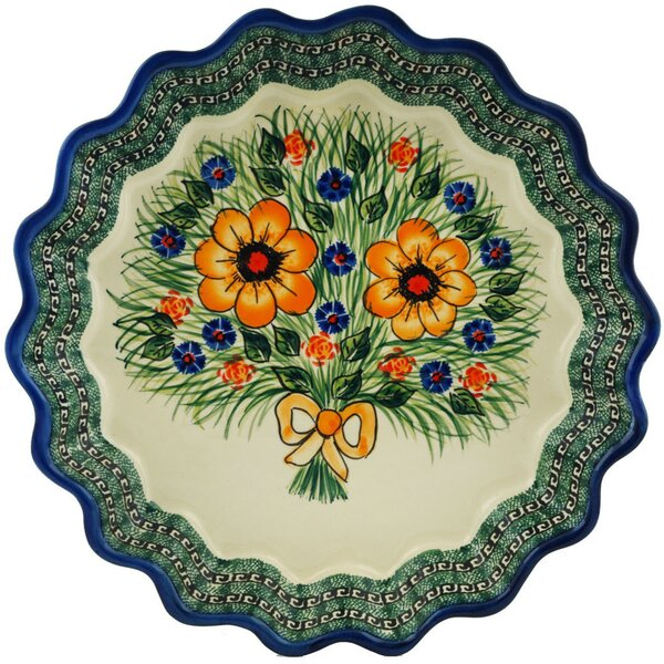 Yellow Flower Fluted Pie Dish by Polmedia