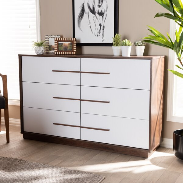 Johnathon Mid-Century Modern Wood 6 Drawer Dresser by Wrought Studio