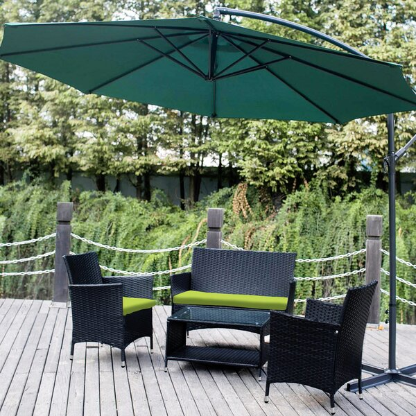 Alheide 4 Piece Rattan Sectional Seating Group with Cushions by Latitude Run