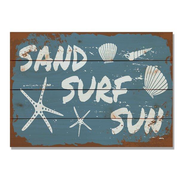 4 Piece Wile E. Wood Sand Surf Sun Graphic Art Set by Gizaun Art